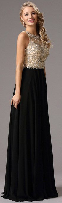 floor length beaded formal gown