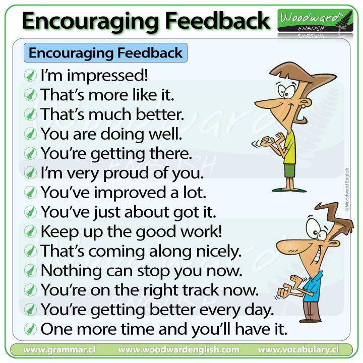 Encouragement Feedback Language In English Learn