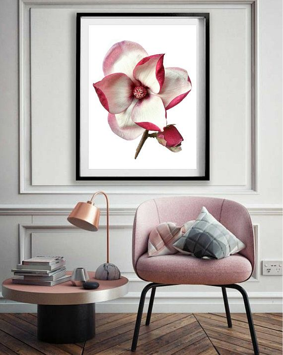 Botanical Art Magnolia Print Gift For Her Pink Decor Floral Wall Decor Botanical Art Pink Decor
