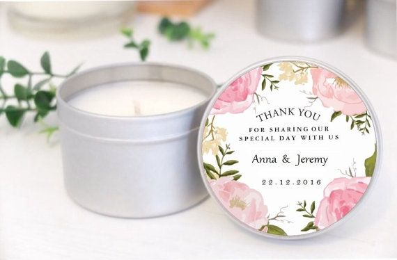 Custom soy candle wedding favours / bomboniere. 2oz tins with