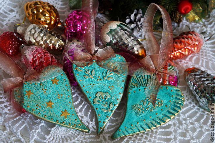 Купить Новогоднее украшение. Набор сердечек. Винтаж. Сердце цвета бирюзы - новый год 2016