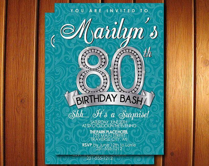 80 cumpleaños invitación - invitación fiesta de cumpleaños de adultos - diamante hito