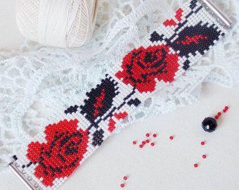 Grano de telar pulsera nativa Ucrania estilo gitano pulsera flor rosa roja pulsera Boho estilo bordado regalo mujeres étnico pulsera