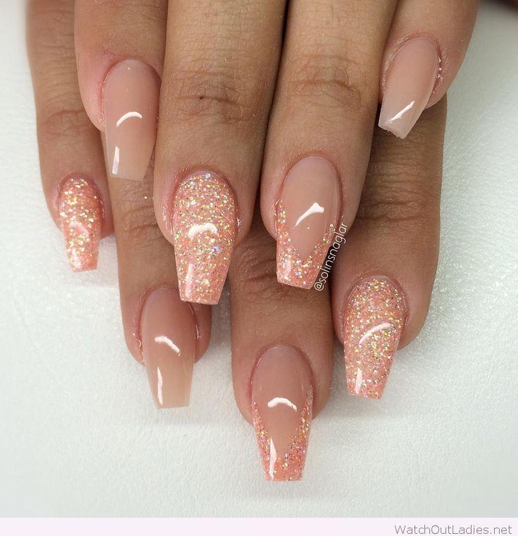 Blush peachy glitter coffin nail art