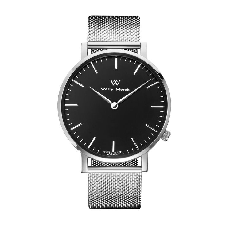 A round silver case with classically curved lugs,elegant hue, the silver hands match the case colors and underscore their prominent design,color-coordinated mesh strap, inimitable and upscale watch.