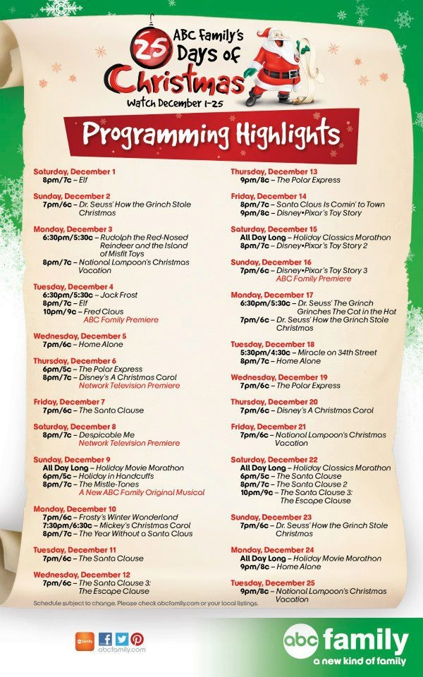 ABC Family's 25 Days of Christmas Movie Schedule