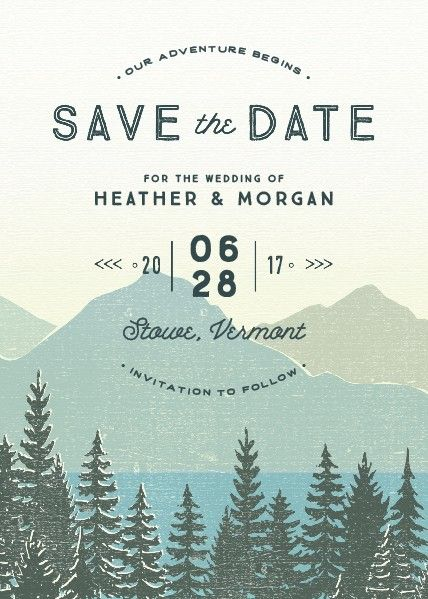 Mountain themed wedding save the dates and save the date cards