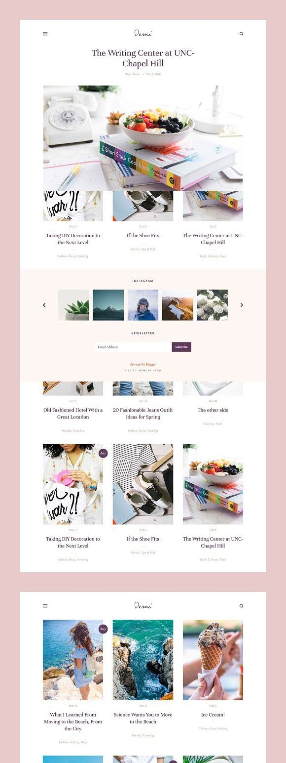 Demi Grid Based Blogger Theme In 2020 Blogger Themes Web Graphic Design Theme