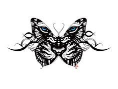 tiger and butterfly tattoo black - Google zoeken