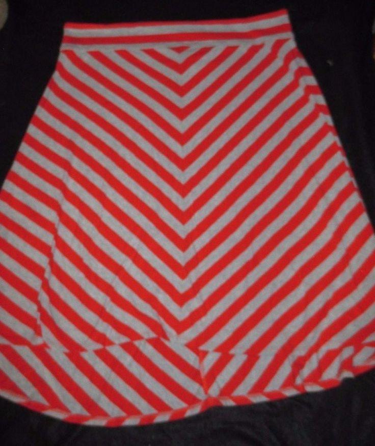 Womens Hanna Andersson Orange Gray Cheveron Jersey Skirt XL #HannaAndersson #StretchKnit