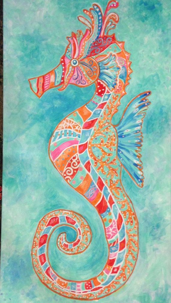 Colorful, Bright Seahorse Painting Large 18 x 48 inches, Aryclic
