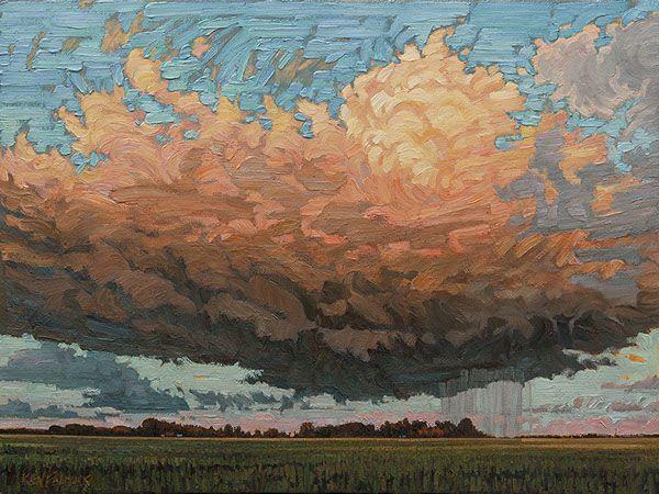 "Ken Faulks - Visual Artist - Canadian Plein Air Painter Evening Rain (Canadian Prairies) 30"" x 40"" oil on panel"