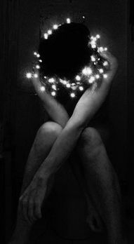 ☾ Midnight Dreams ☽  dreamy & dramatic black and white photography - starry wreath