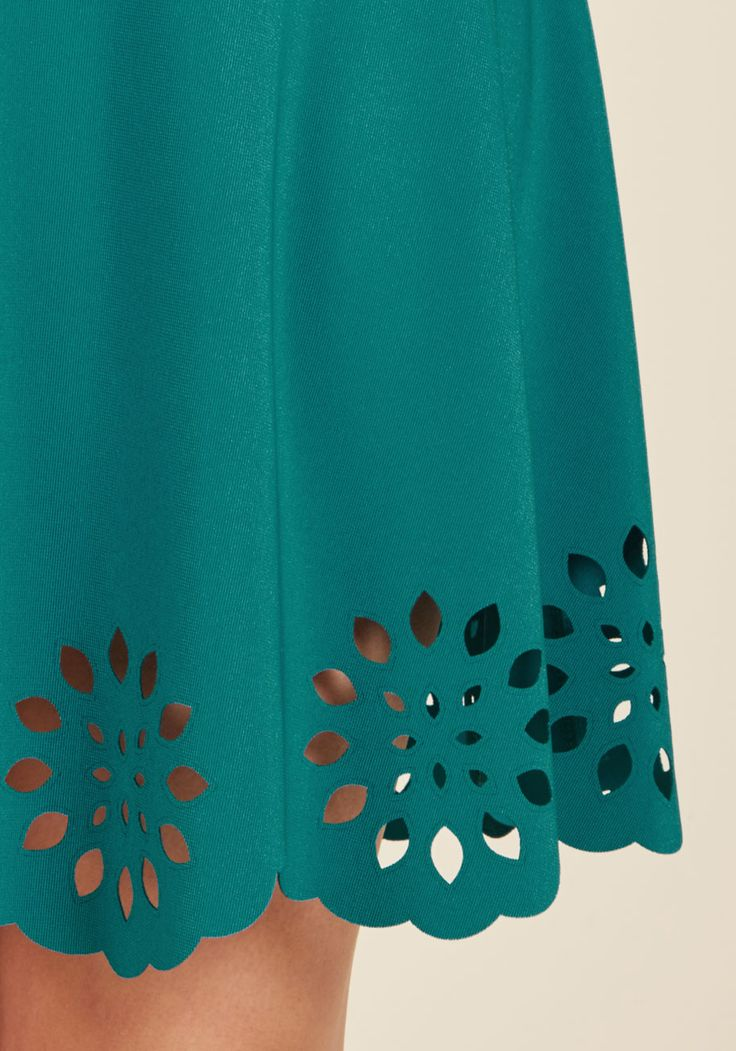 Eyelet Getaway A-Line Dress in Peacock. Escape into an evening enchanted by this rich teal dress! #green #modcloth