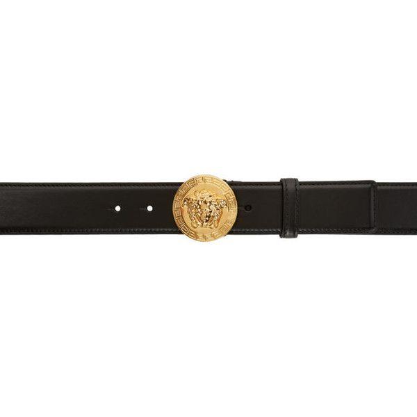 Versace Black Round Medusa Belt ($465) ❤ liked on Polyvore featuring men's fashion, men's accessories, men's belts, black, mens adjustable belts, versace mens belt and mens studded belt