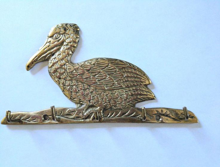 Vintage Pelican Bird Key Rack Brass Made In India #Unbranded #Bird