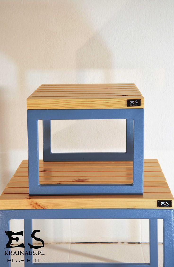 Handcrafted stools, frame is painted in pastel blue steel, pine top, minimal style, spokojne, stonowane stoliki z sosnowym blatem, lakierowanym bezbarwnie, rama metalowa w pastelowym blękicie, CHIP&TINY, Kraina ES #table, #irontable, #minimalism, #krainaes, #craft, #stolik, #reczniewykonany