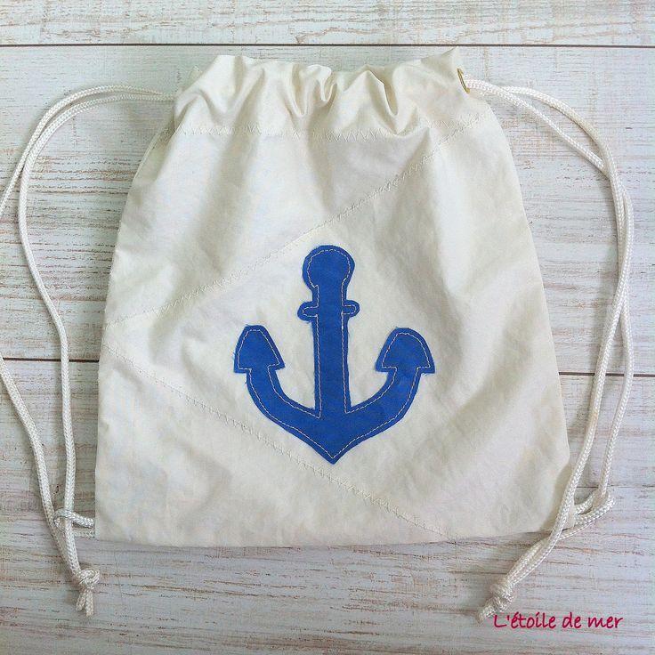 """Sac à dos blanc en voile recyclée pour enfants motif """"ancre"""" : Sacs à dos, cartables par l-etoile-de-mer"""