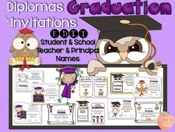 diplomas and invitations editable with multi grade levels end of