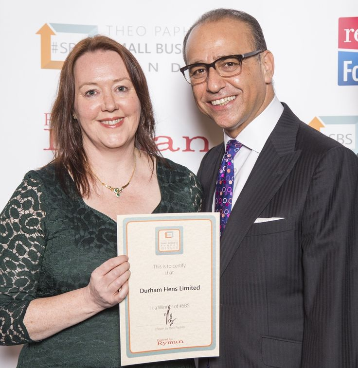 Margaret, the founder and MD of Durham Hens, collecting the Theo Paphitis #SBS award certificate from Theo himself.