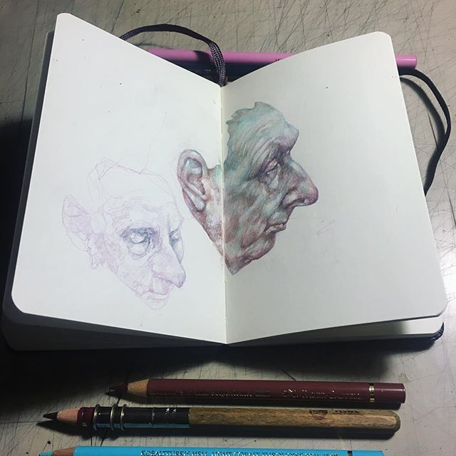 Doodling people from the metro part II #coloredpencils #moleskine #gaia #pencils #subway #doodling #moleskinesketchbook #thinkspacegallery