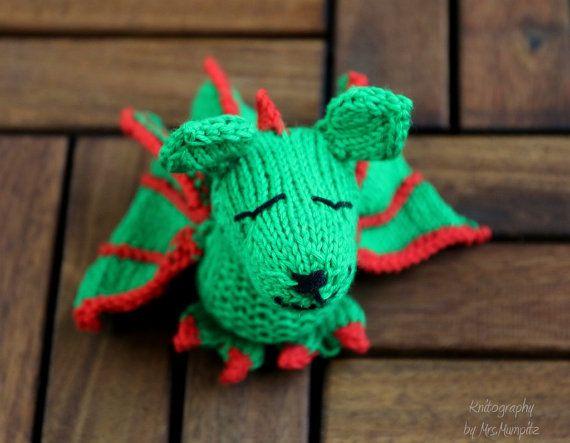 Toy Dragon handknit from eco friendly yarn by KnitographyByMumpitz