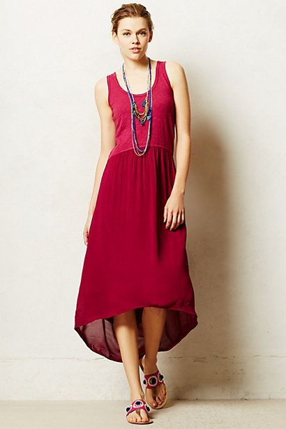 Ideas for simple contrast dresses... and there's a cut-out in the back! Tulipan Tank Dress #anthropologie