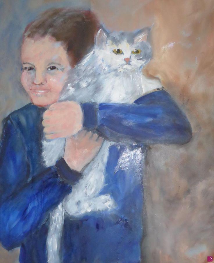 bambina con gatto di Gisela Wendy Krüger