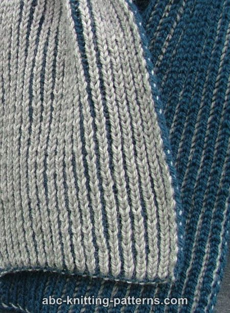 ABC Knitting Patterns - Two-Color Brioche Scarf .