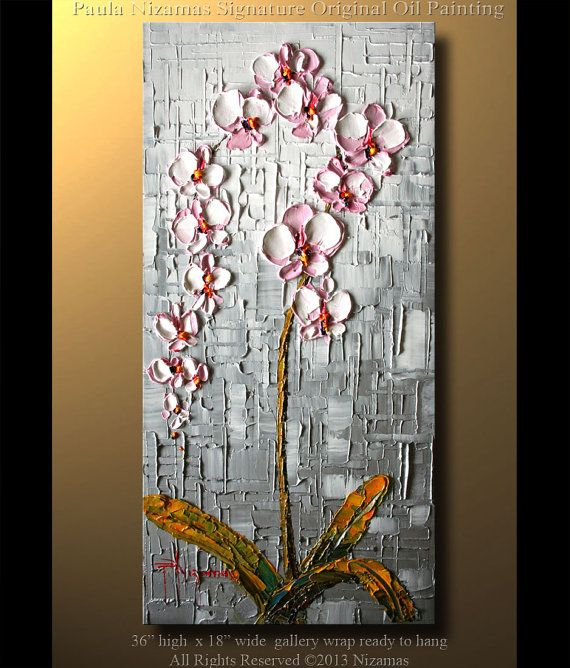 "Orchid Original Contemporary Textured Oil Floral Painting on canvas by P. Nizamas 36"" ready to hang calm earth tones"