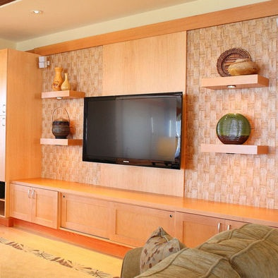 Tropical Media Room Living Room Cabinets Design, Pictures, Remodel, Decor and Ideas