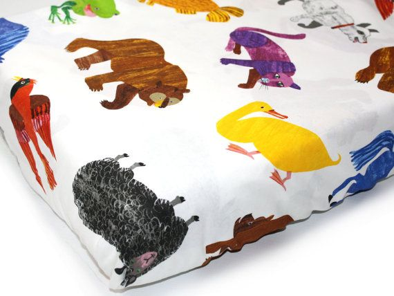 The all-time favorite Brown Bear Brown Bear story now comes alive on fabric and will look simply lovely in your nursery! This crib sheet features