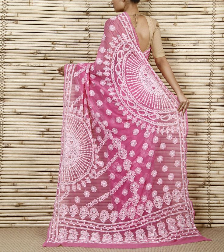 Pink Chiffon Saree With Sober Chikankari...love the color!!