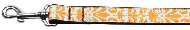 Damask Nylon Dog Leash 6 Foot Orange