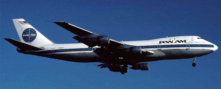 InDec of 1988, Pan Am flight 103 en route from London to New York was blown up by a terrorist bomb over Lockerbie, Scotland with the loss of all 270 souls aboard.   Here, flying in happier days, N739PA - the aircraft lost at Lockerbie.
