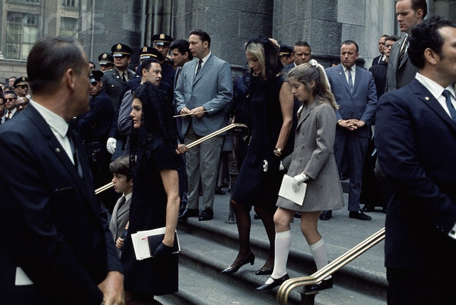 Jacqueline Kennedy, Lee Radziwill, Caroline and John Jr. leave St. Patrick's Cathedral following Robert Kennedy's funeral, June 8, 1968.
