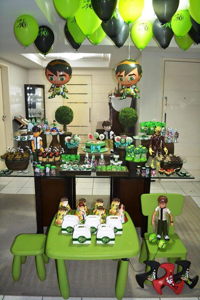 Lindas ideias de decoração de festa tema Ben 10! Ele tem a habilidade de se transformar em diversos tipos de alienígenas e virou ídolo de muitos meninos. Ben 10 birthday party ideas.