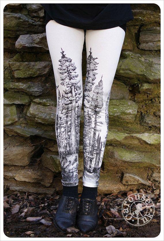 Redwood Forest Leggings - Womens Legging - CREAM - Tights - tree tights -  LARGE. $32.00, via Etsy.