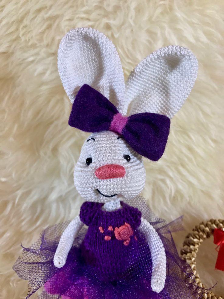 Crochet Bunny, Soft Bunny Toy, Amigurumi Bunny Toy, Knit Girl Toy, Easter Bunny Toy, Rabbit Plush Doll, Home Decor Doll, Easter Gift by TreasureMyIsland on Etsy
