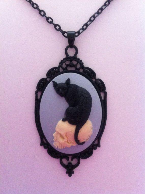 Black Cat on a Skull Cameo Necklace (goth, punk, psychobilly, rockabilly, spooky, steampunk, alternative, hipster) via Etsy