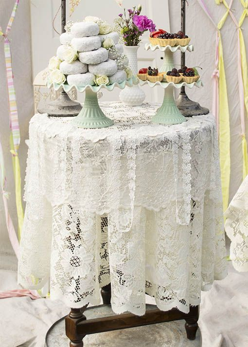 Lace Tablecloth, Round Table Cover, 60 In. Diameter, Scalloped, Ivory |  Cake Pedestal