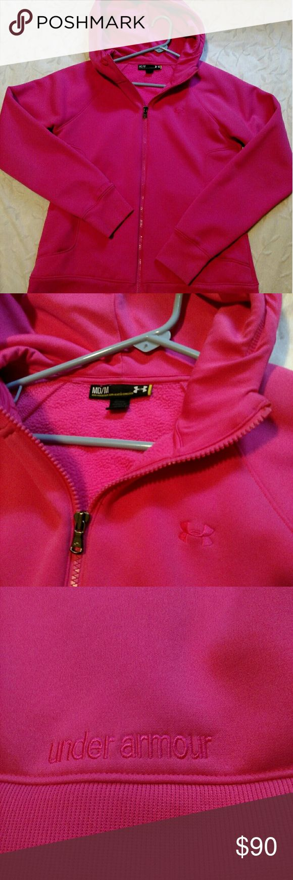 UNDER ARMOUR STORM ZIP UP Women Under Armou Stormr zip up, size medium. Semi- fitted/coupe. ( MD/M). Worn once. Bought a black one instead. Condition is good, does have one small stain. ( Left arm) Not very noticeable. No more stains that I can see. No rips or tears. Very warm! Color is Pink. Retails $119.00, bought from Gander mountain. Does not list material it's made of. I believe it's 100% polyester , its not fleece material. Under Armour Jackets & Coats