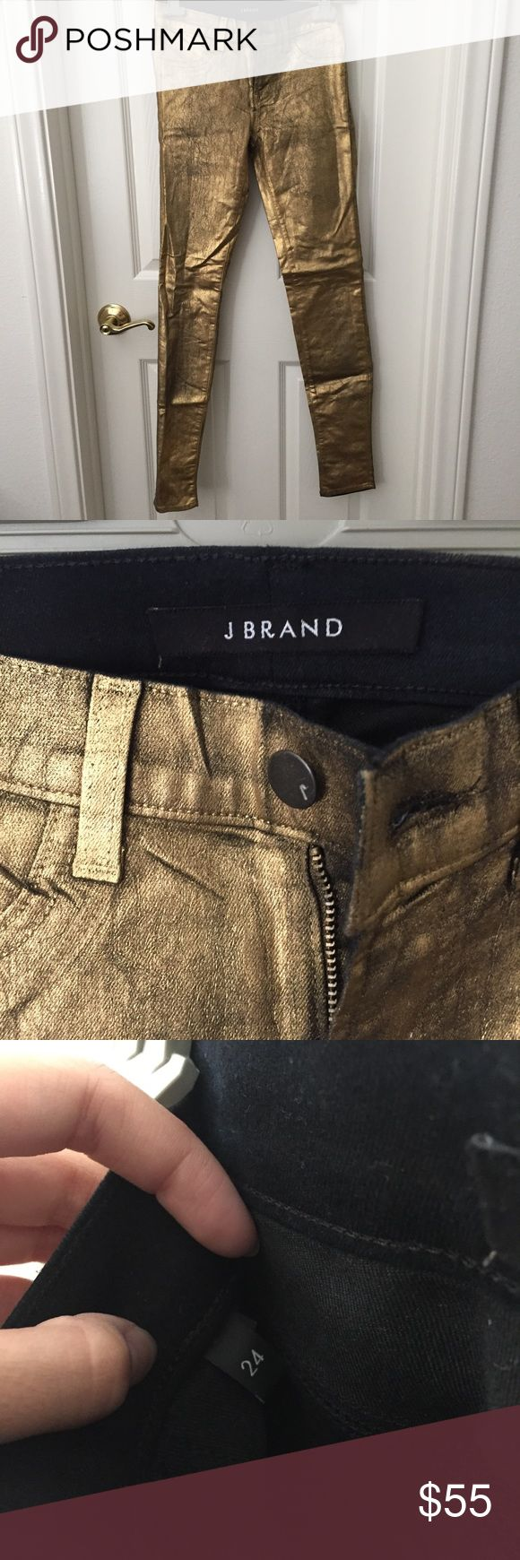 NWOT J Brand Gold Jeans These are NWOT J Brand Gold Foil jeans. They are very skinny. They are gold foil and have never been worn. J Brand Jeans Skinny