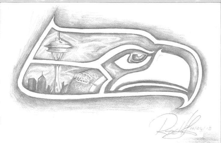 A hand drawn picture of a Seattle Seahawk with the Seattle skyline and a football drawn into the design. by ArtByRachelLucas on Etsy