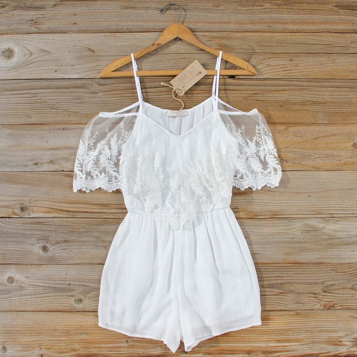 Honeyed Lace Romper... A gorgeous bohemian romper. Perfect for a vacay, honeymoon, or the beach.