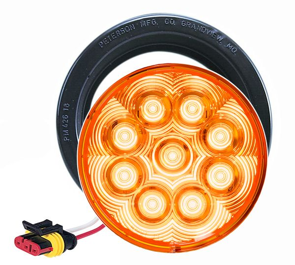 """LED817SKA-9 --- Amber LED LumenX® 4"""""""" Round Strobe Light kit"""