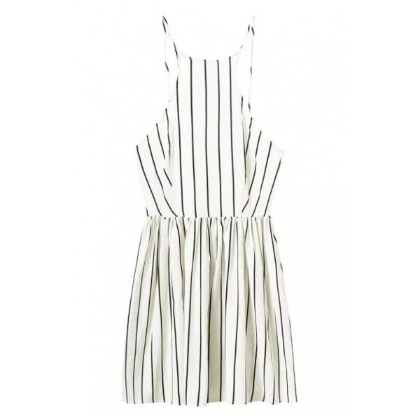 Straps Vertical Stripes A-Line Backless Mini Dress ($14) ❤ liked on Polyvore featuring dresses, beautifulhalo, vestidos, white strappy dress, short white dresses, mini dress, white strap dress and short backless dresses