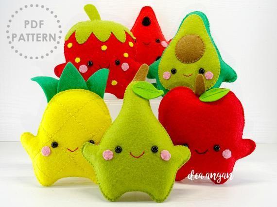 PDF Pattern: Kawaii Felt Fruits Set. Play Food. Felt Food. Plushies Kawaii. Plushies Pattern. Felt Patterns – Instant Download