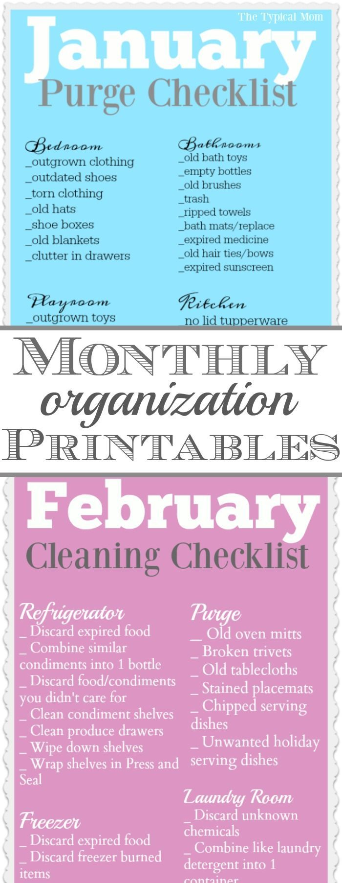 Free home organization printables for each month of the year!! Broken up into different areas it's super helpful so you don't get overwhelmed. via @thetypicalmom
