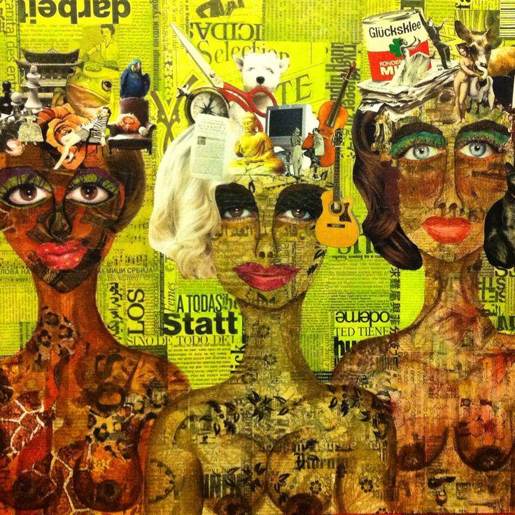 Collage Lorena Córdova - Tres mujeres desnudas con muchos pensamientos